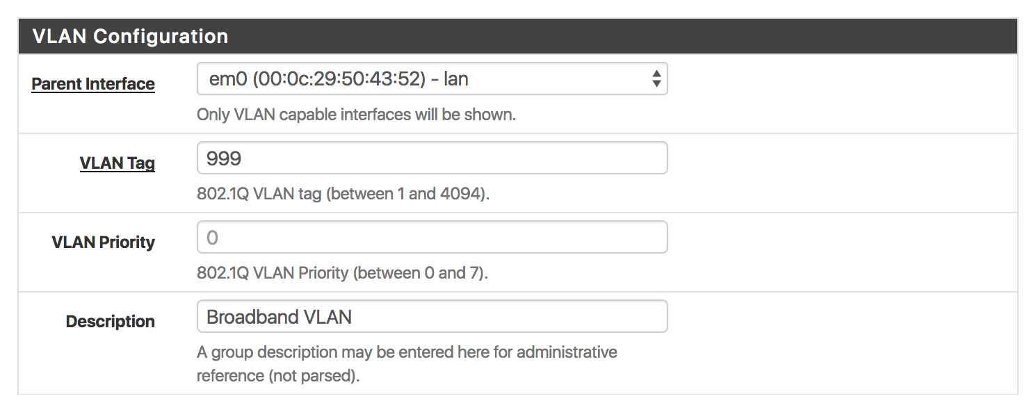 Creating the PPPoE VLAN